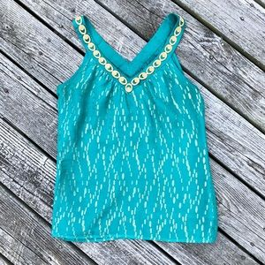 Trina Turk Gold Embroidered Teal Tank Top Blouse